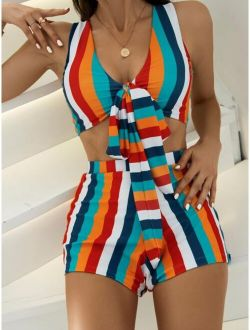 Striped Knot Front Bikini Swimsuit