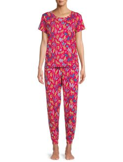 Women's and Women's Plus Size Short Sleeve T-Shirt and Joggers Pajama Set