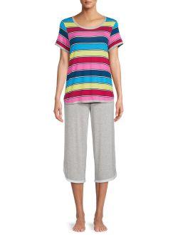 Essentials Women's and Women's Plus T-Shirt and Capri Pants Sleep Set, 2-Piece
