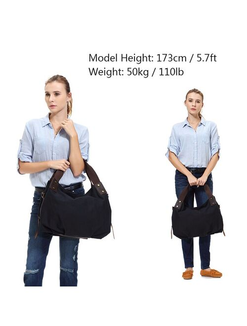 VASCHY Canvas Hobo Bag Vintage Large Leather Canvas Tote Handbag for Women Top Handle Work Bag with Detachable Shoulder Strap