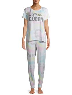 Women's and Women's Plus T-Shirt and Joggers, 2-Piece Pajama Set