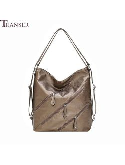 Transer 2019 New Fashion Pu Leather Large Capacity Tote Wild Messenger Bag Shoulder Bag Casual Anti-theft Women's Bags