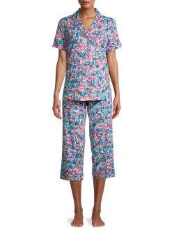 Women's and Women's Plus Notch Collar and Capri Pants Pajama Set, 2-Piece