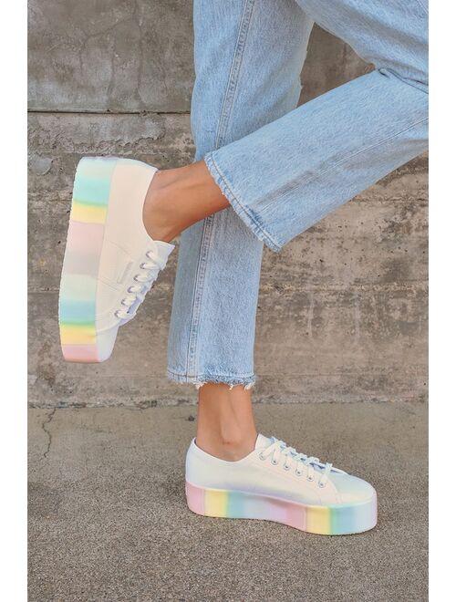 Superga 2790 Shaded Platform White Pastel Multi Platform Sneakers
