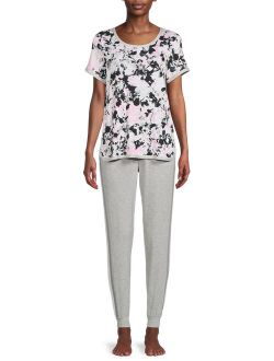 Essentials Women's and Women's Pus Size Knit T-Shirt and Joggers Set, 2-Piece