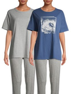 Women's and Women's Plus Size Sleep T-Shirt, 2-Pack