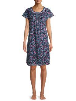 Women's and Women's Plus Traditional Flutter Sleeve Knit Sleepwear Gown