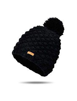 Womens Winter Beanie Hat, Warm Casual Hat Skullies, Skull Ski Cap with Pom Pom