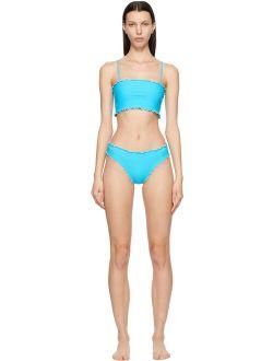 Sherris Blue Ruffle Tank Top Bikini