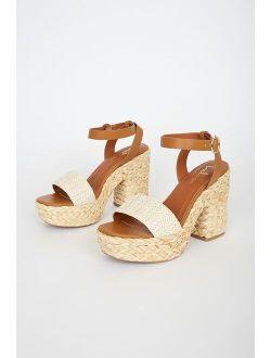 Eviee Ivory Raffia Platform Sandals