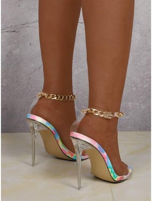 Shein Clear Chain Strap Stiletto Heeled Sandals