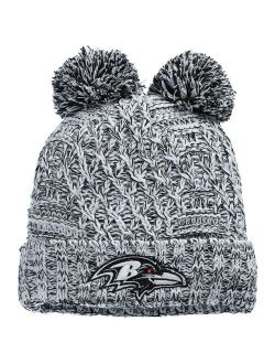 Girls Youth New Era Heathered Gray Baltimore Ravens Cuffed Knit Hat with Poms