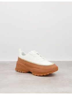 Danielle Chain Chunky Sneakers In White & Gum