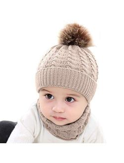 BQUBO Baby Knit Hat Scarf Set Winter Warm Beanie Toddler Hats with Circle Scarf for Infant Pompom Hat