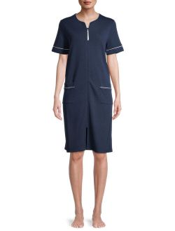 Women's and Women's Plus Size Zip-Front Robe with Short Sleeves