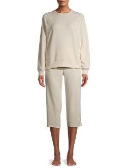 Women's and Women's Plus Size Sleep Top and Crop Pants, 2-Piece