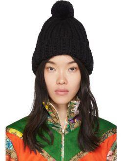 Black Wool Pom Pom Beanie