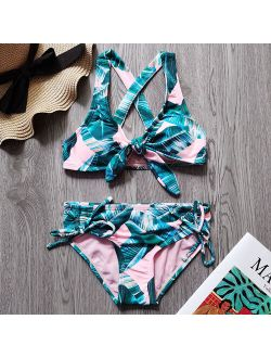 Ms.Shang 7-16 Years Girl Swimsuit Kids Tropical Two Piece Children's Swimwear Cross Back Girl Bikini Set Bow Tie Girls Bathing Suit 2021