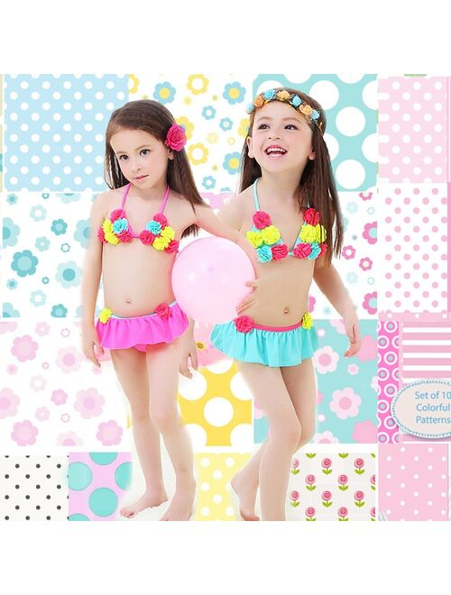 GCWHFL Floral Cute Kids Baby Girl Bikini Sets Swimsuit Swimwear Bathing Suits Toddler Swimming Costume Kids Two-pieces Beach Biquini
