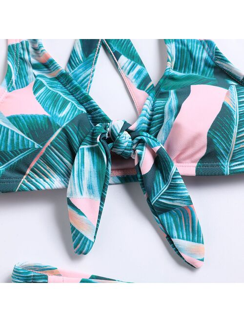 Ms.Shang Tropical Leaf Girls Swimsuit Kids Bow Tie Girl Bikini Set Cross Back Two Piece Children's Swimwear Girls Bathing Suit Beachwear