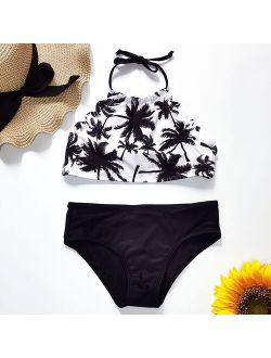 Ms.Shang 5-14 Years Girl Swimsuit Kids Palm Tree Teenage Girl Bikini Set Halter Top Two Piece Children's Swimwear BIg Girls Bathing Suit