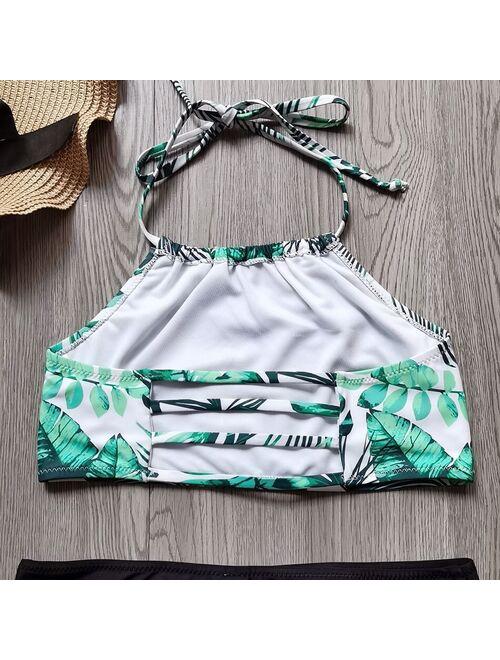 Ms.Shang Girl Swimwear Swimsuit Kids 5-14 Years Teenage Girl Bikini Set Tropical Palm Tree Girls Bathing Suits Halter Top Beachwear 2021