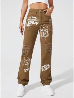 Figure and Slogan Graphic Ripped Detail Straight Leg Jeans