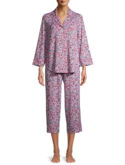 Women's Traditional 3/4 Sleeve Notch Collar PJ Set