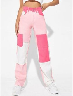 High Waist Color Block Straight Jeans