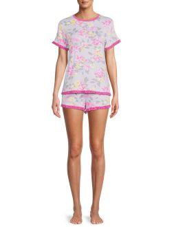 Women's and Women's Plus Knit Shorty Pajama Set, 2-Piece