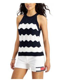 Cotton Scallop-Stripe Top