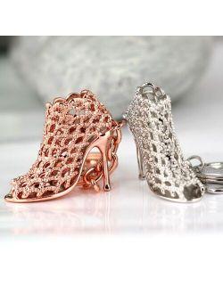10PCS/Lot High-heeled Shoe  Keychain Creative Fashion Refinement Beauty Lady Gift Hollow Shoes Keyring Key Chain Ring Keyfob