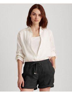 Lalph Lauren Linen Point Collar Long Sleeeve Shirt