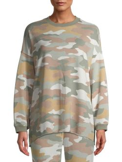 Women's and Women's Plus Oversized Long Sleeve Lounge Top