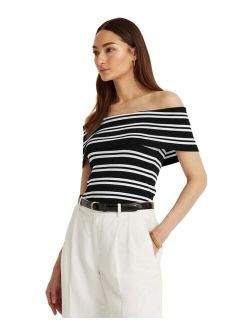 Petite Striped Off-the-Shoulder Top