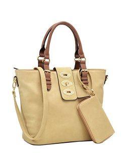 Womens Large Twist Lock Tote Shoulder Bag Top Handle Handbag Purse
