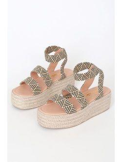 Rayney Black and Tan Espadrille Flatform Sandals