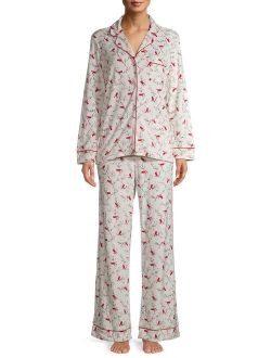 Women's and Women's Plus Traditional Notch Collar Long Sleeve Top and Pants Pajama Set