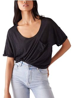Cotton And Polyester Short Sleeve With Scoop Neck Top