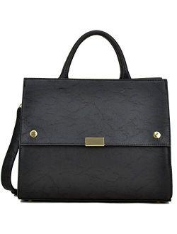 Handbag For Women Classic Satchel Briefcase Shoulder Bag Designer Purse (black)