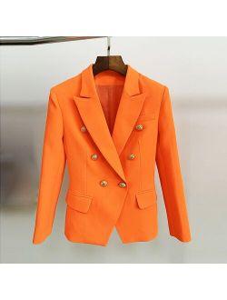 O'ZACKET HIGH STREET Classic Baroque Designer Blazer Women's Metal Lion Buttons Double Breasted Blazer Orange