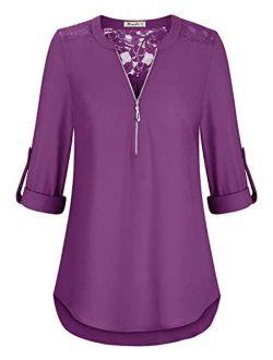 Moyabo Womens Lace Patchwork 3/4 Cuffed Sleeve V Neck Zip Up Chiffon Shirt Casual Blouse Tunic Tops