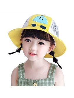 GenericBrands Hat UV Protection Bucket Hat with Chin Strap Breathable Mesh Flap Hat Summer Visor Cap Quick Dry Cute Beach Hat for Kids Girls Boys 1-3 Years Old