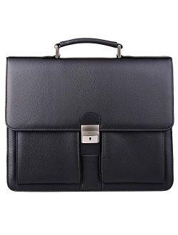 Jack&Chris Mens New PU Leather Briefcase Messenger Bag Laptop Bag, MBYX015 (Black)