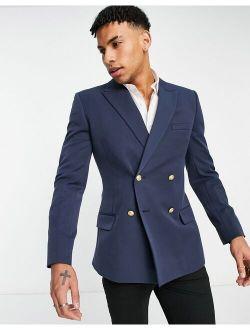 Skinny Double Breasted Blazer In Navy