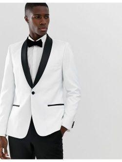 Skinny Tuxedo Blazer In White With Black Lapels