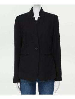 LOFT Outlet Black Ponte Notch-Collar Blazer - Petite