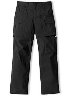 Girls' Hiking Cargo Pants, Upf 50+ Quick Dry Convertible Zip Off Pants, Outdoor Camping Pants