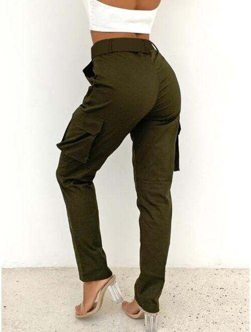 Joyfunear Buckle Belted Solid Cargo Pants