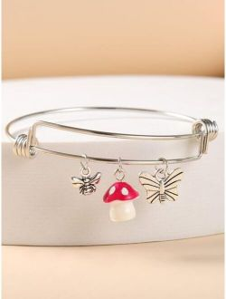 Mushroom & Butterfly Charm Bracelet